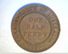 1939m  Austrailia One Half Penny, High Grade Bronze (Aus-74)