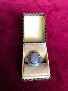 Jugendstil Herrenring Siegelring 800 Silber RG 16,5 mm Monogrammplatte frei