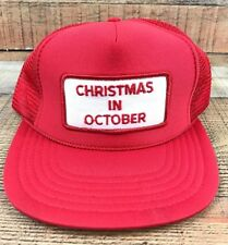 Christmas In October Patch Red & White Vintage Snapback Trucker Hat