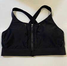 Fabletics Zoe M Medium Solid Black High Impact Sports Bra Zipper Front Closure