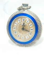 Gorgeous cobalt blue silver and gold Nisyse pocket watch (ca. 1920s)