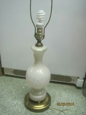 Vintage Italy Murano 1960's Table Lamp White Coin Dot Glass filigree Brass Base