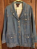 Women's Jean Jacket Denim & Co Blue Cotton Blazer Coat Topper w/3 Pockets Sz 1X