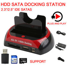 2.5″ 3.5″ Dual Hard Drive HDD Docking Station USB Dock Card Reader IDE SATA HUB