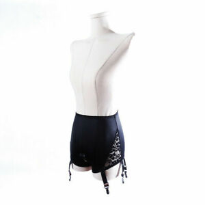 S-3XL High Waist Crotchless Shiny Girdle Pants Suspender Garter belt W 6 Straps