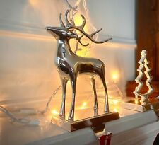 Pottery Barn Reindeer Stocking Holder Silver Plated with Box