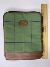 Padded Green Plaid And Faux Leather Tablet Sleeve Holder