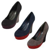 Mujer Spot On Alto Plataforma con Cuña ' Zapatos de Salón '
