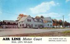 Brewer Maine Air Line Motor Court Street View Vintage Postcard K52397