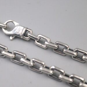 Retro Real S925 Silver Fit Men Male Necklace 7.0mm Square Cable 24inch Chain