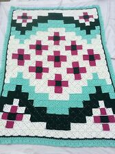 Handmade Afghan Acrylic Throw Tetris Mint Green Pink White