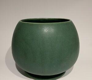 """Vintage McCoy USA Pottery Dark Green Matte Glaze Bulbous Footed 6"""" Vase #520"""