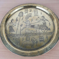 Brass Egyptian Antique Engraved Plate Platter Serving Tray Pyramids Pharo Dish