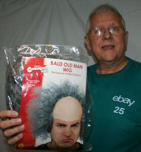 Bald Old Man Wig grey grumpy grandpa bad hair male pattern baldness headpiece
