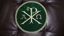 Chi-Rho Vestment Center 9in Green Velvet Circle & Green trim W/ Gold Chi-Rho
