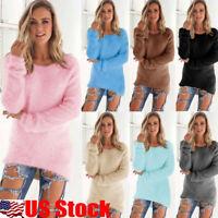 USA Womens Winter Long Sleeve Loose Knitted Sweater Jumper Cardigan Outwear Coat