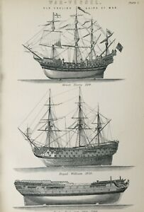 ANTIQUE PRINT C1870'S WAR VESSEL OLD ENGLISH SHIPS OF WAR ENGRAVING GREAT HARRY