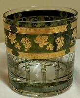 Vintage Cera GOLDEN GRAPES GREEN Mid Century Modern 22k Gold 8 oz Rocks Tumbler