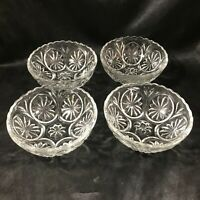Set of 4 Vintage Anchor Hocking Medallion Cameo Clear Glass Berry Bowls