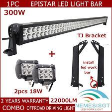 52in 300W + 2X 18W Spot LED Light Bar With Mount Bracket For Jeep Wrangler TJ NE