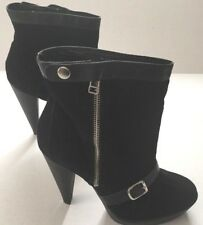 Pour la Victoire Darien Black Leather Suede Zip Buckle Heels Boots 8 RRP £349
