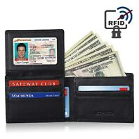 Genuine Leather RFID Blocking Bifold Stylish Flipout Wallet With ID Window Men