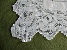 "ANTIQUE TABLECLOTH HAND CROCHET EDGE ~ INT ~ 46/52""~ IRISH LINEN"