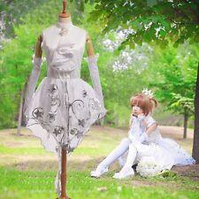 KINOMOTO SAKURA White Wedding Dress Anime Cardcaptor Sakura Cosplay Fancy Dress