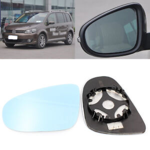 For Volkswagen Touran 2011-15 Side View Door Mirror Blue Glass With Base Heated