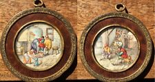 Gorgeous, Pair of Miniature Family Scene and Interior Tavern Scene (XIX)