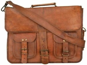 Men Real Leathery Vintage Leather Satchel Messenger Work Laptop Briefcase Bag