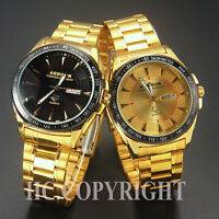 18K Gold Plated Men's Date Stainless Steel Military Sport Quartz Wrist Watch