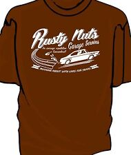 """Rusty Nuts Garage Services"" t-shirt.    Fiat 124 Coupe"