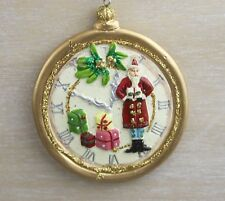 GISELA GRAHAM CHRISTMAS RESIN TOY FACTORY POCKET WATCH WITH SANTA DECORATION