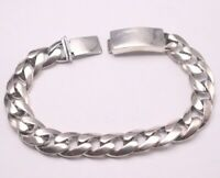 """Pure 925 Sterling Silver Wider 10.5mm Cuban Link Bracelet 20cm (7.87""""L) For men"""
