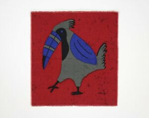 Vintage 1960s /1970s Red, Grey & Blue Tropical Toucan / Bird Fabric Wall Hanging