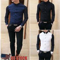 Fashion Men's Luxury Slim Fit Casual Shirts Long Sleeve Formal Dress Shirt Tops