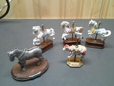 Lot of 5 Carousel Horse Colorful  Porcelain  Figurine w Wood Base Collectible