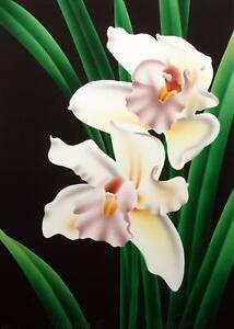 "Brian Davis ""Cymbidium IV"" limited edition Airbrush Art Print orchid MAKE OFFER!"