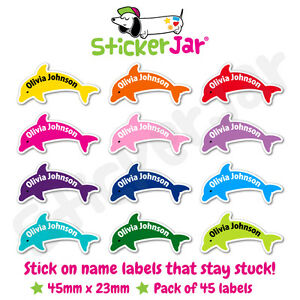 45 Personalised Stick On Name Labels Stickers School Kids Dolphin Shape NL09