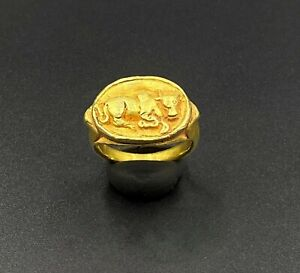 Ancient Gold jewelry Ring With typical Nandi bull symbol From Burma Pyu Period