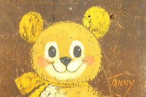 Original Vtg Bear Painting Folk Art Paint Board Childrens Bedroom Nursery Wall