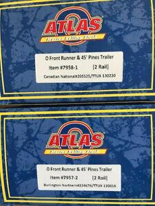 (2) Atlas O 45' Front Runner 2 RAIL CN and Burlington Northern Trailer NR