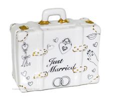Spardose Koffer Just Married, Flitterwochen Hochzeit weiß Geldgeschenk Brautpaar