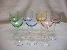 7 Multi-Colored Italian Glass Twisted Stemware Cordial / Goblets