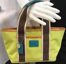COACH Hampton Weekend Mini Tote Small Purse Lime/Brown & Leather Handbag