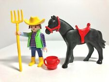 Playmobil Ranch Riding Stables Farm Modern Male Rider Figure Horse Pitch Fork