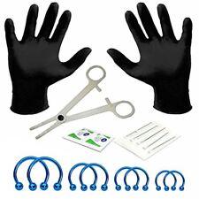 BodyJ4You 18PC Body Piercing Kit Blue Circular Barbell Horseshoe Rings 14G 316L