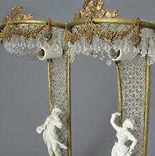 Pr Antique French Beaded Crystal Lamps Doré Bronze Swags + Bows Bisque Figures