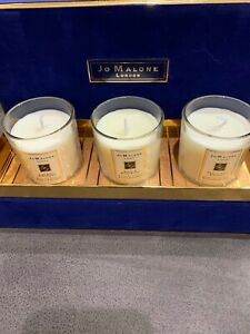 Jo Malone 3 Candle  Boxed Gift Set In Navy Blue Velvet Box